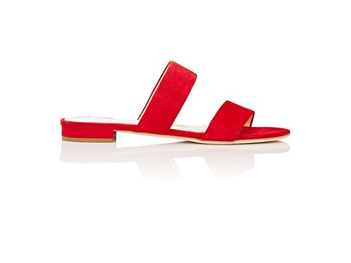 Barneys New York Suede Double Band Slides Red sOsaCSf3q