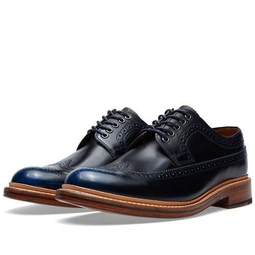 Grenson Sid Long Wing Brogue Navy Rub Off ngidudH