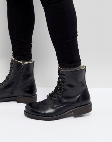 Pier One Leather Warm Lining Boots In Black Black 1qJbglkg2
