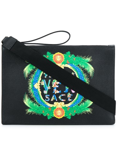 Versace Printed Logo Clutch Bag Black RYrfX