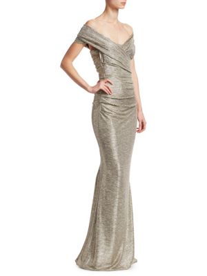 Talbot Runhof Off The Shoulder Metallic Gown Gold MB1NeAn