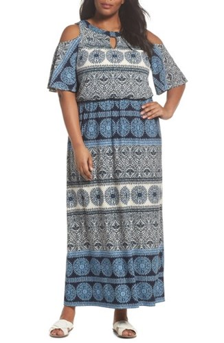 London Times Plus Size Women's Print Cold Shoulder Blouson Maxi Dress Ivory Blue 6OqZ6XFSa