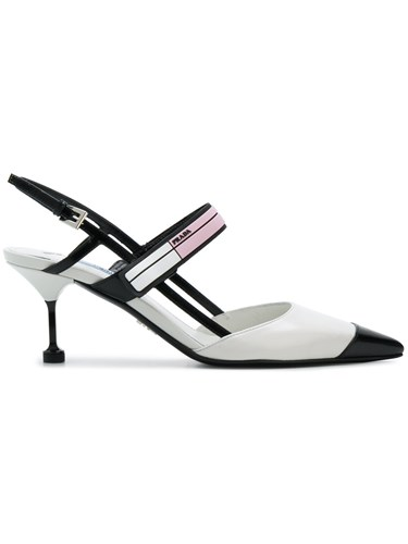 Prada Logo Plaque Slingback Pumps White h5fxJl