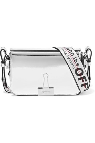 Off-White Faux Mirrored Leather Shoulder Bag Silver Gbp RgjcNsl