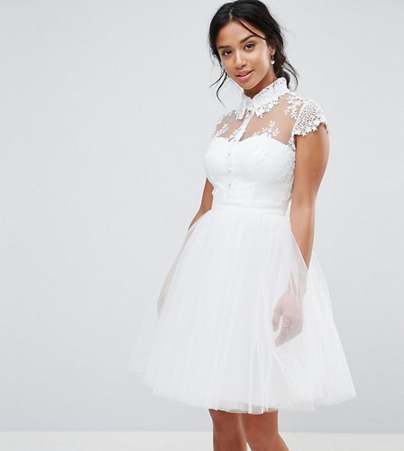 Chi Chi London Petite Mini Tulle Skater Dress With Lace Collar White HNO9fTTZmD