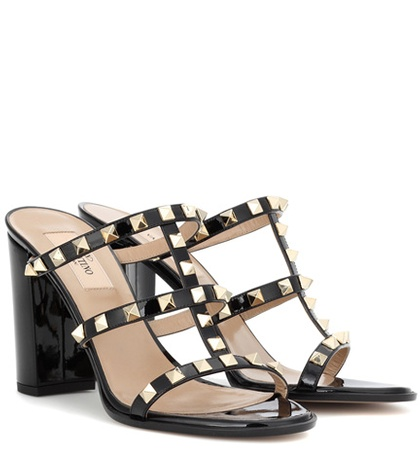 Valentino Garavani Rockstud Patent Leather Sandals Black 2O6lGgV7rN
