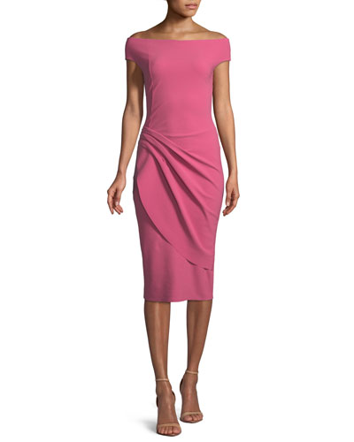 La Petite Robe di Chiara Boni Chiku Sheath Dress W Asymmetric Apron Skirt Candy joEFz