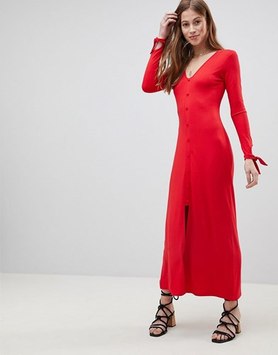 Asos Maxi Tea Dress With Self Covered Buttons dniMo8vPZ
