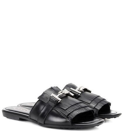 Tod's Double T Leather Sandals Black Vj7uVdJl