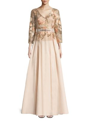 Adrianna Papell Floral Embroidered Taffeta Dress Pale Peach PiaSAhAj