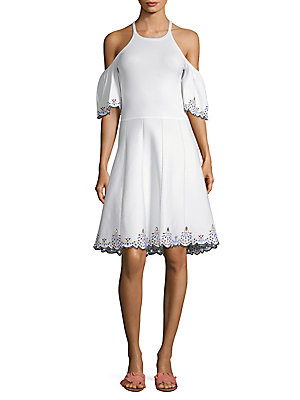 Parker Lorna Embroidered Cold Shoulder Dress White l9AvXEjM2h