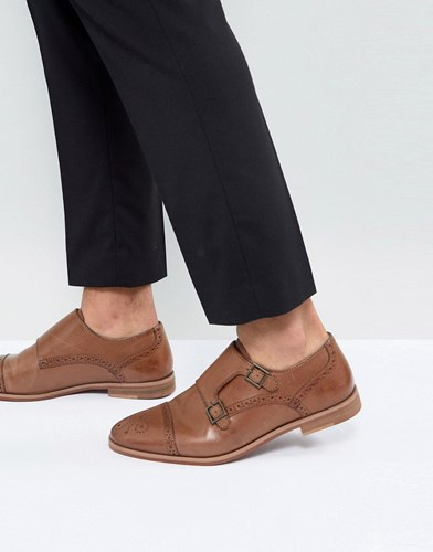 Asos Monk Shoes In Tan Leather With Natural Sole Tan hECjgf