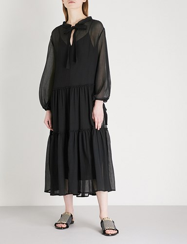 See by Chloe Ruched Cotton And Silk Blend Dress Black IOQj8YJwm0