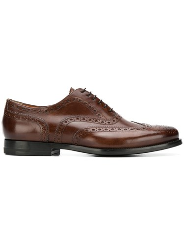Santoni Embroidered Oxford Shoes Brown lFFr349b