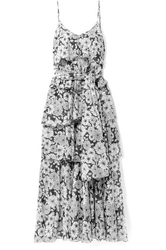 Lisa Marie Fernandez Imaan Tiered Floral Print Cotton Voile Maxi Dress Black TuwgwO