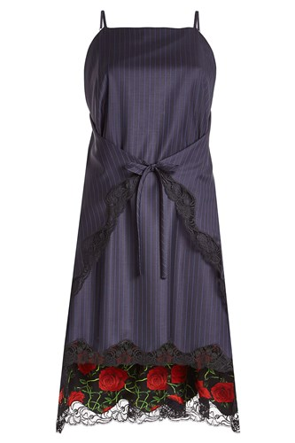 Alexander Wang Pinstriped Virgin Wool Dress With Lace BF54d