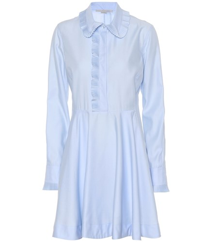 Stella McCartney Cotton Shirt Dress Blue HfbkT3NQu