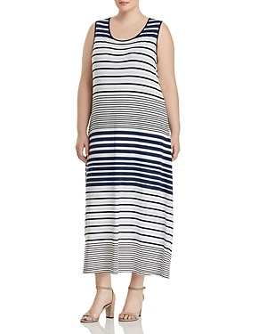 Vince Camuto Plus Multi Stripe Tank Maxi Dress Dew Blue UaTIZe