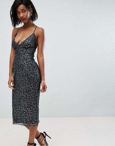 Metallic Cami Lace Metallic Midi Multi Asos Dress Pencil aCqxwECd