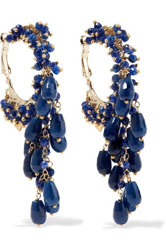 Pascoli Gold Tone Quartz Earrings Navy