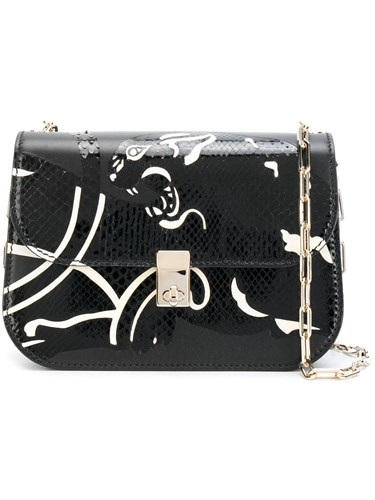 Valentino Garavani All Over Chain Panther Shoulder Bag Women Calf Leather Snake Skin Metal One Size Black cr5oy