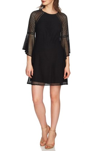 CeCe Keira Bell Sleeve Lace A Line Dress Rich Black AgFfq