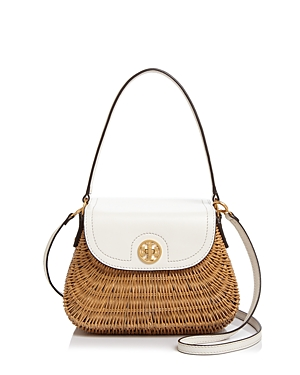 Tory Burch Lacquered Rattan Basket Crossbody New Ivory Gold OfUo5x