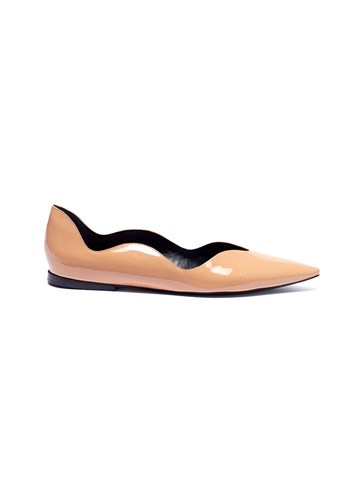 Proenza Schouler 'Wave' Scalloped Patent Leather Skimmer Flats Neutral OYygaNi