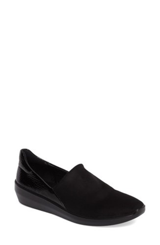 Ecco Black Incise Wedge Women's Urban Slip On Faux Leather rrxCw1qH