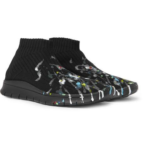 Maison Martin Margiela Printed Stretch Knit Sneakers Black eymex