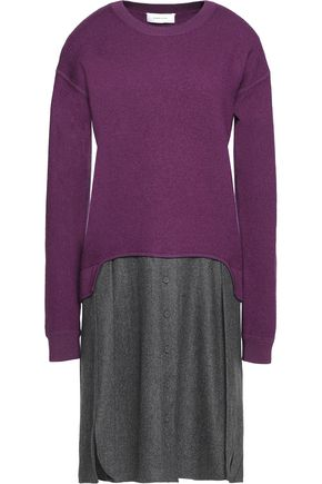 Carven Layered Wool Dress Violet jPlZfq