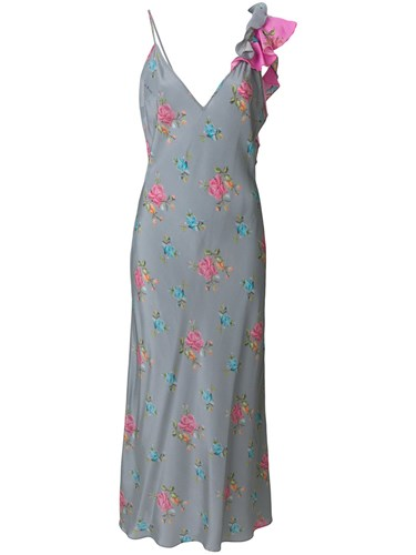 Natasha Zinko Floral Print Ruffle Detail Dress Silk Grey z7abLs3