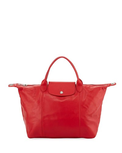 Longchamp Leather Dark Handbag Medium With Red Le Cuir Strap Pliage ZxqvZpr