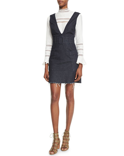 n/nicholas Belted Frayed Hem Denim Pinafore Dress Indigo Lom1q7l1