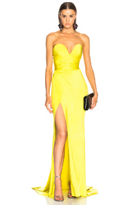 Alexandre Vauthier Shiny Jersey Strapless Gown In Yellow pTHWRTx