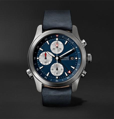 Alt1 Zt Automatic Chronograph 43Mm Stainless Steel And Leather Watch Blue