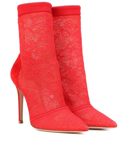 Gianvito Rossi Brinn Lace Ankle Boots Red 5pdQPIs