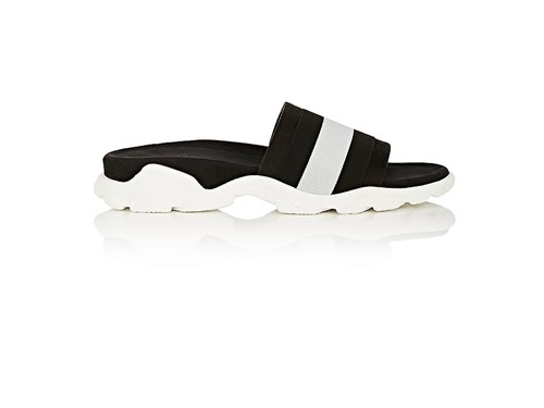 Stella McCartney Women's Striped Faux Suede Slide Sandals Black White ifbIUxnc9