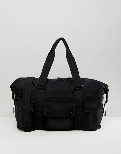 Asos Holdall In Black With Chunky Zip Detail Black f5HyPX7x