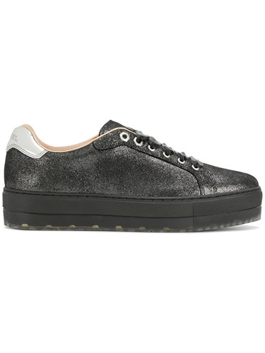 Diesel Sandy Sneakers Cotton Leather Polyester Rubber Black V845d