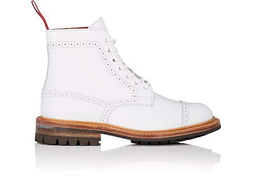 Black Comme des Garcons Leather Brogue Ankle Boots White Y9bhYLyV