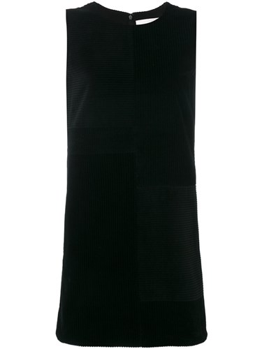 Victoria Beckham Ribbed Shift Dress Women Silk Cotton 10 Black L3OtwY8