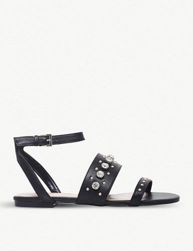 Miss KG Reach Embellished Faux Leather Sandals Black ejspUl