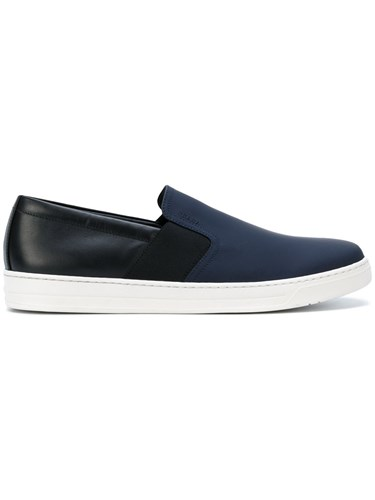 Prada Two Colored Slip On Sneakers Calf Leather Leather Rubber 7.5 Blue fRrLDZru