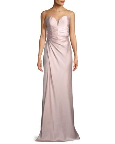 La Femme Strapless Gathered Satin Column Gown Blush A2tdM9w