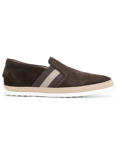 Tod's Slip On Espadrille Sneakers Leather Suede Rubber Brown ILL26VH