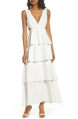 Bardot Cutout Detail Tiered Maxi Dress White mAivgbgn