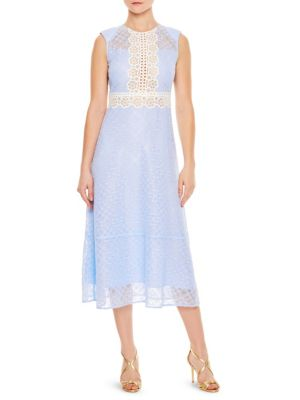 Sandro Hot Floral Lace Dress Sky Blue rYhYPNmq