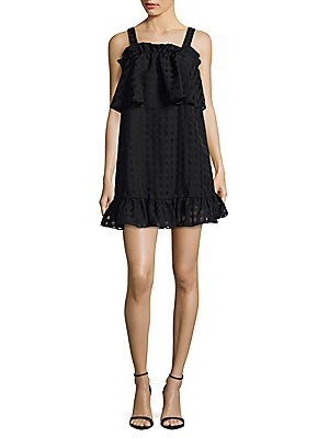 Parker Windowpane Mini Dress Black YjADw1RR