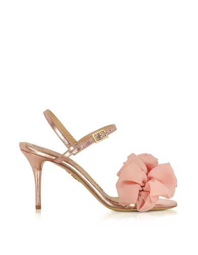 Charlotte Olympia Shoes Reia Rose Gold Metallic Leather And Pink Organza Heel Sandals soJTX